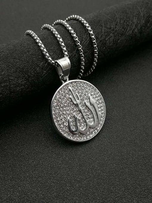 HI HOP Titanium Steel Rhinestone Round Vintage Necklace 2