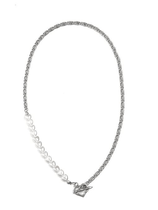WOLF Titanium Steel Imitation Pearl Geometric Hip Hop Necklace
