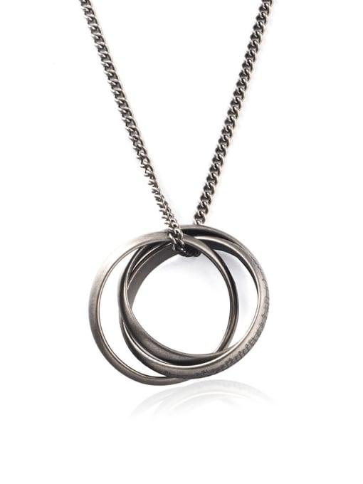 WOLF Titanium Steel Round Vintage Necklace 0
