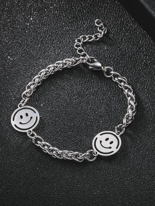 WOLF Titanium Steel Smiley Minimalist Beaded Bracelet 0