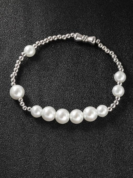 WOLF Titanium Steel Imitation Pearl Round Minimalist Beaded Bracelet 1