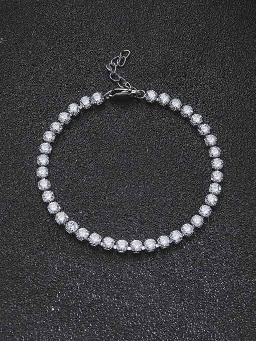 WOLF Titanium Steel Cubic Zirconia Geometric Minimalist Link Bracelet 1
