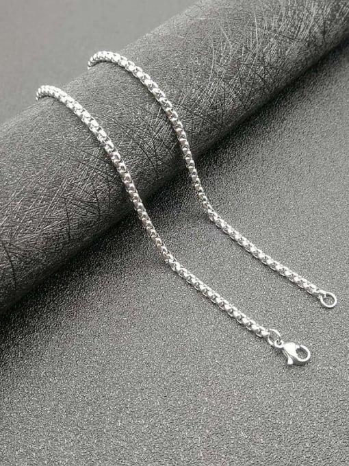 Steel color Chain 3mm*61cm Titanium Steel Cubic Zirconia Enamel Leaf Vintage Necklace