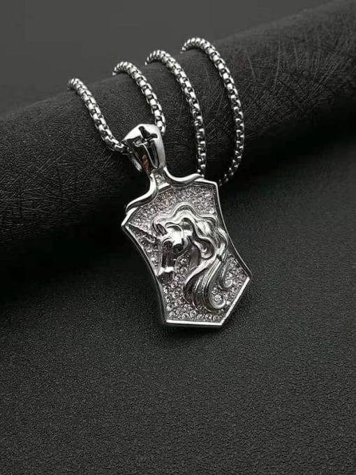 Steel color Titanium Steel Rhinestone Horse Vintage Necklace