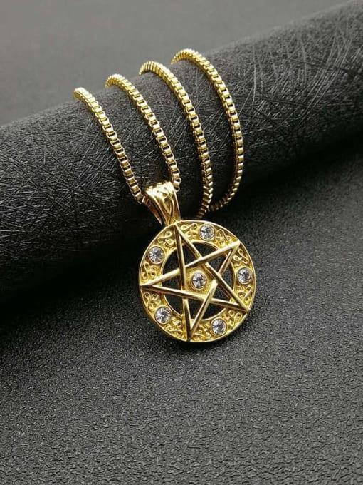 HI HOP Titanium Steel Rhinestone Star Vintage Necklace 3