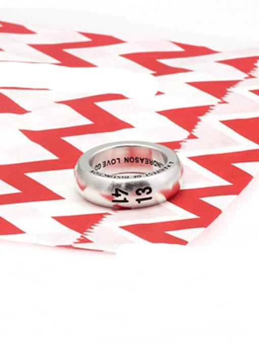 White  (size 7) Titanium Steel Number Vintage Band Ring