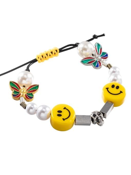 Dice smile Bracelet Titanium Steel Imitation Pearl Enamel Dice Hip Hop Adjustable Bracelet