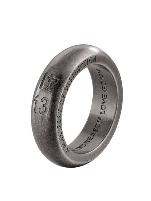 WOLF Titanium Steel Number Vintage Band Ring 2