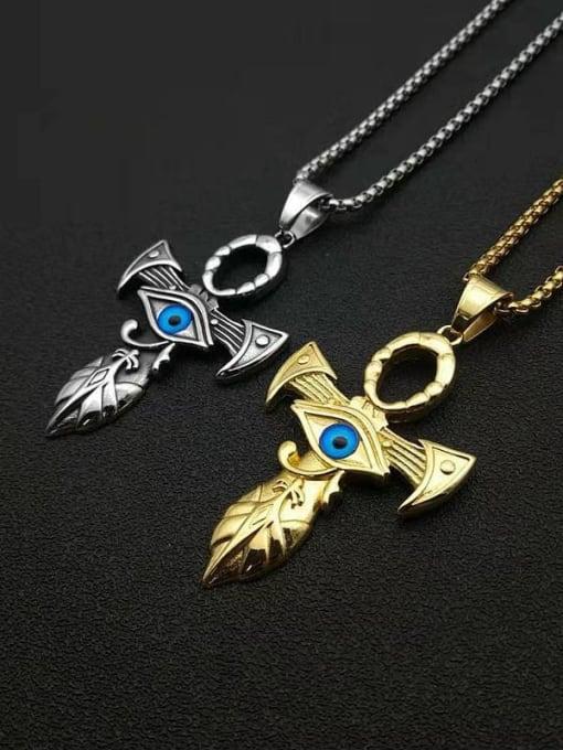HI HOP Titanium Steel Enamel Cross Vintage Necklace 1