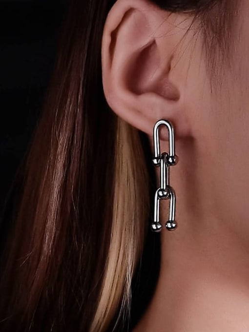 WOLF Titanium Steel Geometric Minimalist Chandelier Earring 1