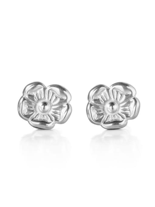 Steel color Titanium Steel Flower Minimalist Stud Earring