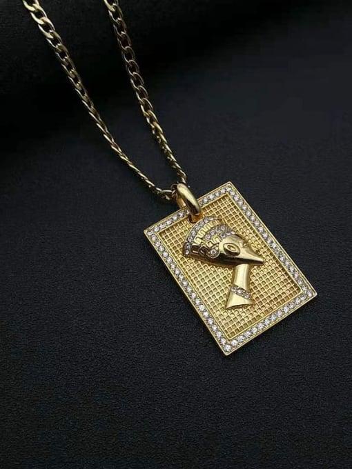 HI HOP Titanium Steel Rhinestone Geometric Vintage Necklace 3