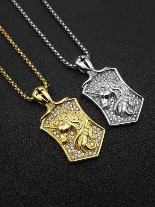 HI HOP Titanium Steel Rhinestone Horse Vintage Necklace 0