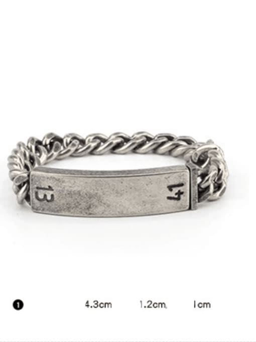 WOLF Titanium Steel Geometric Vintage Bracelet 2