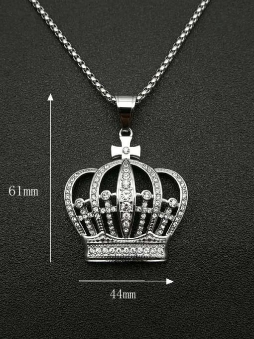HI HOP Titanium Steel Rhinestone Crown Vintage Necklace 1