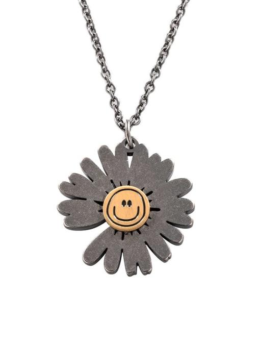 Ancient Titanium Steel Flower Hip Hop Necklace