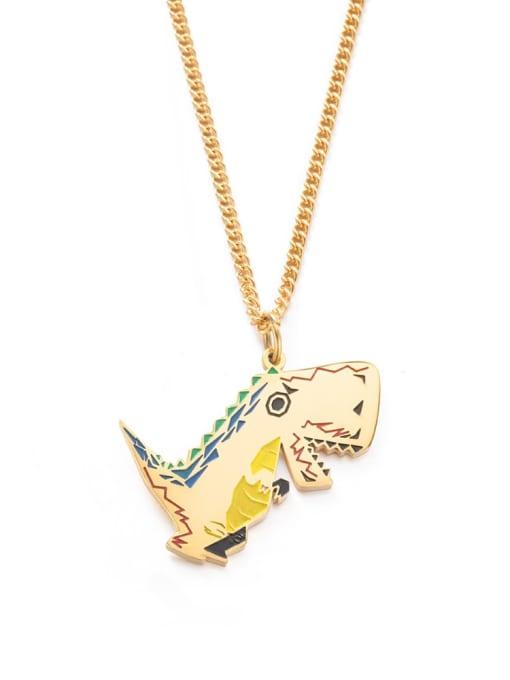 golden Titanium Steel Enamel Dragon Hip Hop Necklace