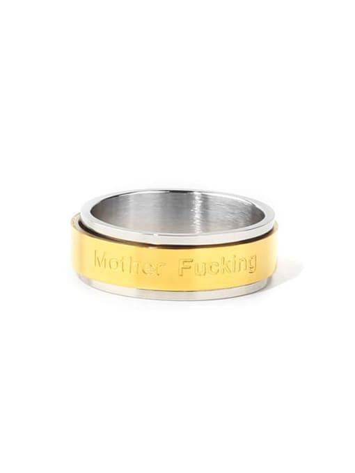 golden Titanium Steel Round Minimalist Band Ring