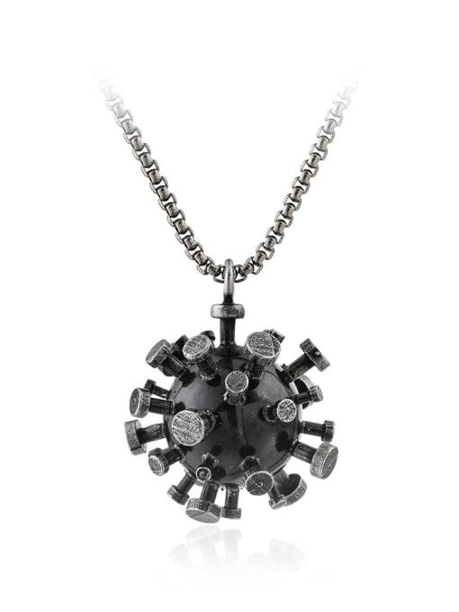 Ancient silver Titanium Steel  Irregular Virus Shape Necklace