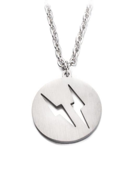 Steel color Titanium Steel Round Hip Hop Necklace