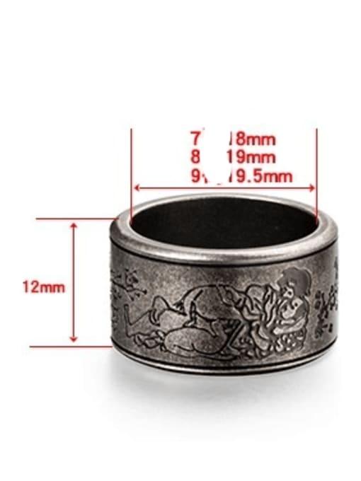 WOLF Titanium Steel Flower Vintage Band Ring 4