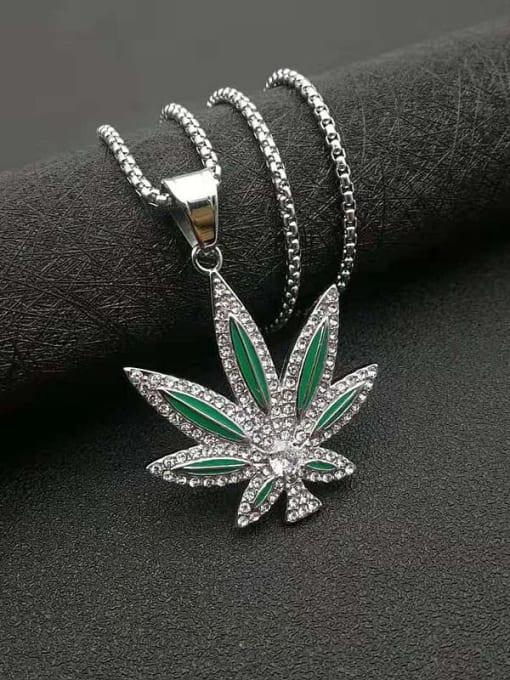 HI HOP Titanium Steel Cubic Zirconia Enamel Leaf Vintage Necklace 3