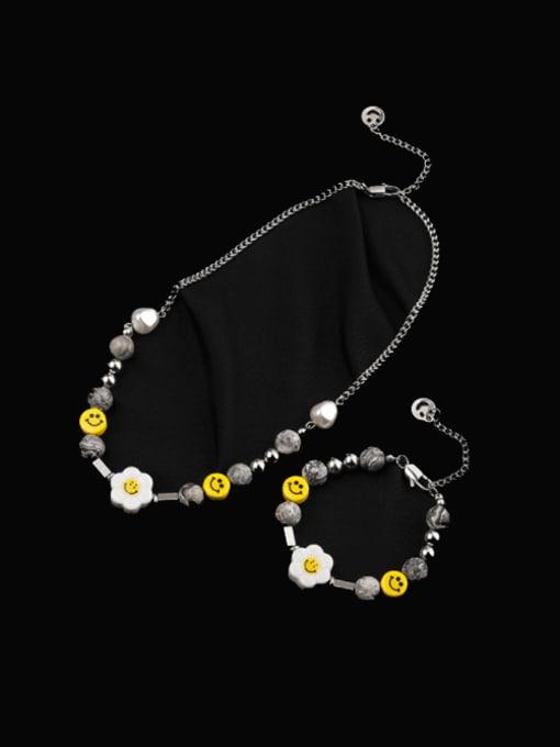 WOLF Titanium Steel Hip Hop Smiley  Braclete and Necklace Set
