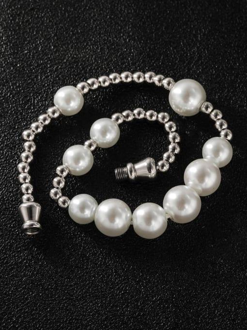 WOLF Titanium Steel Imitation Pearl Round Minimalist Beaded Bracelet 2