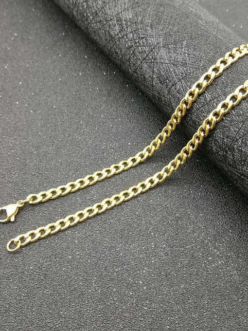 Gold :4.4mm *61cm Titanium Steel Geometric Hip Hop Cable Chain