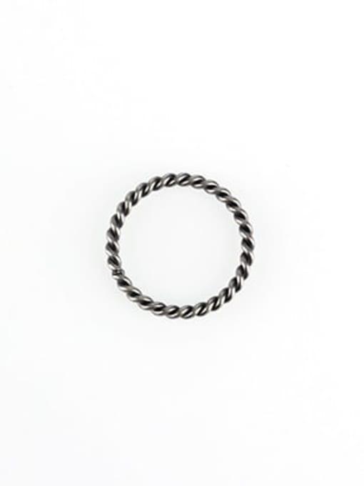 Small twist Mahua ancient (size 6) Titanium Steel Geometric Vintage Band Ring