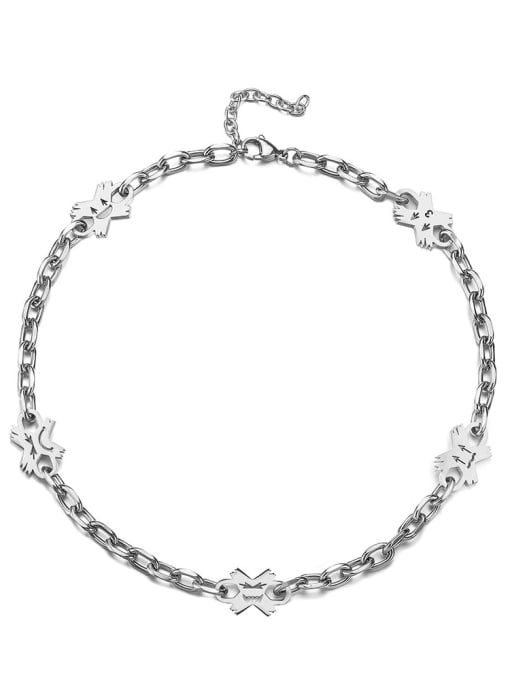 Steel color Titanium Steel Flower Hip Hop Necklace