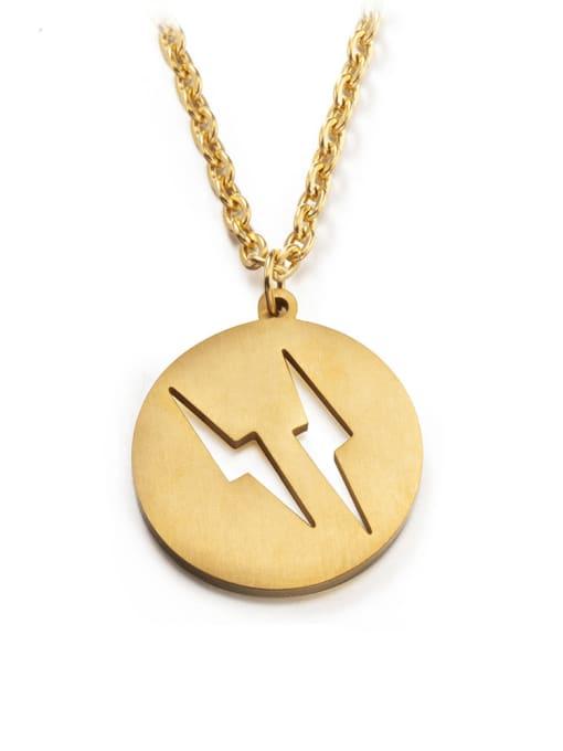 WOLF Titanium Steel Round Hip Hop Necklace 0