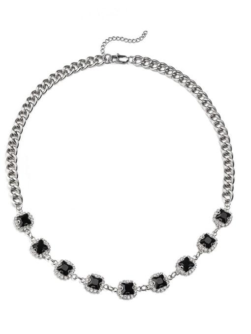 Steel black (8*45cm) Alloy Cubic Zirconia Geometric Hip Hop Necklace