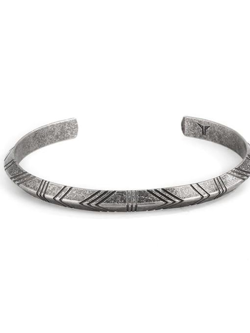 Ancient Titanium Steel Geometric Vintage Cuff Bangle