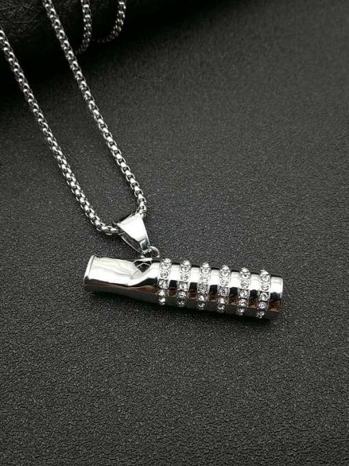 Steel color +Chain:3mm*61cm Titanium Steel Rhinestone Mouth Vintage Necklace
