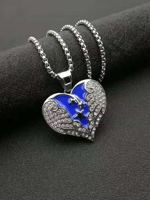 HI HOP Titanium Steel Cubic Zirconia Enamel Heart Vintage Necklace 2