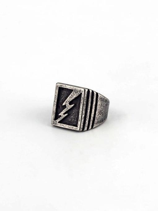 Antique  (size 8) Titanium Steel Geometric Hip Hop Band Ring