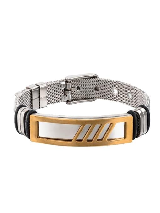 Between gold Titanium Steel Geometric Hip Hop Bracelet