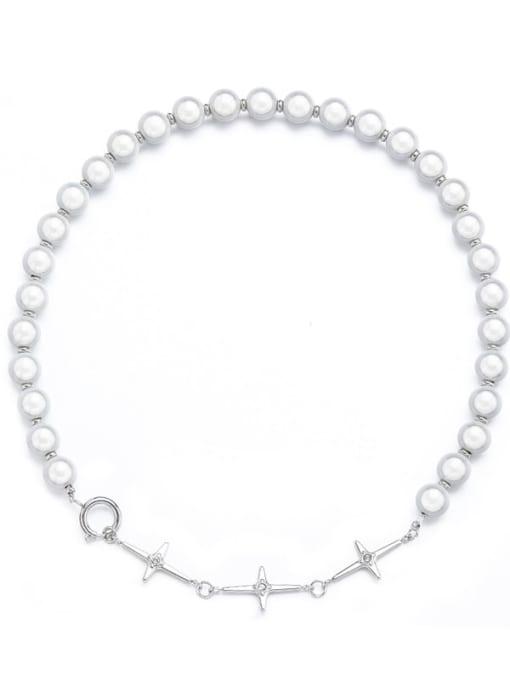 Steel color Titanium Steel Imitation Pearl Geometric Hip Hop Necklace