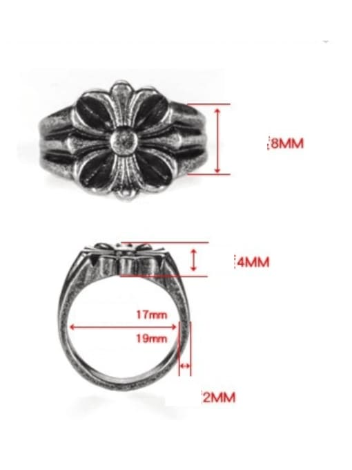 WOLF Titanium Steel Irregular Vintage Band Ring 3