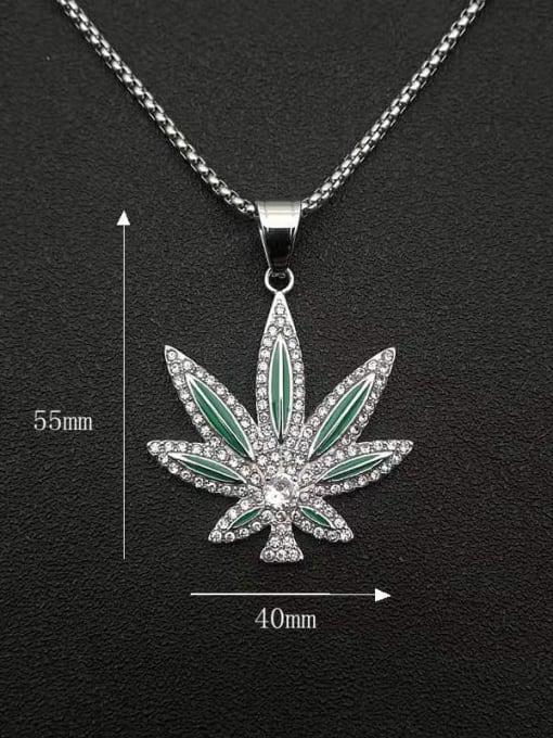 HI HOP Titanium Steel Cubic Zirconia Enamel Leaf Vintage Necklace 1