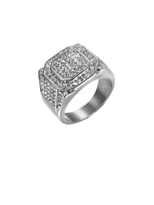 steel Titanium Steel Rhinestone Geometric Hip Hop Band Ring