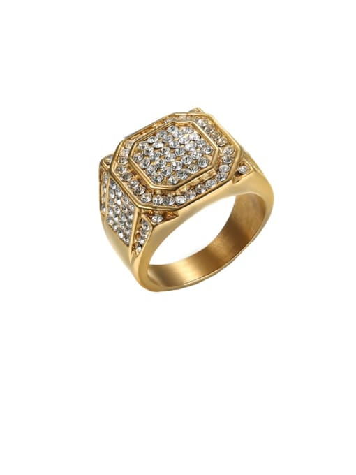 Golden Titanium Steel Rhinestone Geometric Hip Hop Band Ring
