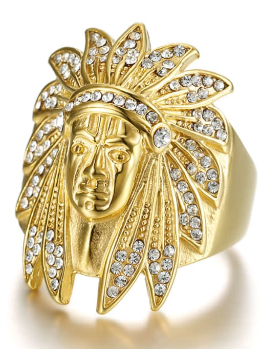 Gold Titanium Steel Rhinestone Irregular Hip Hop Band Ring