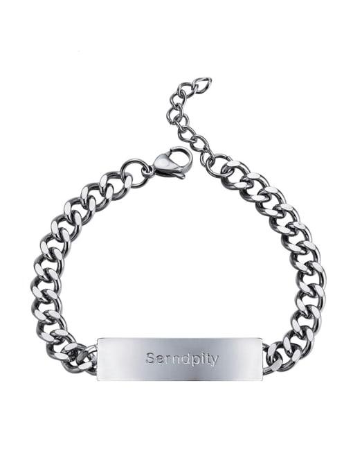 WOLF Titanium Steel Geometric Hip Hop Link Bracelet