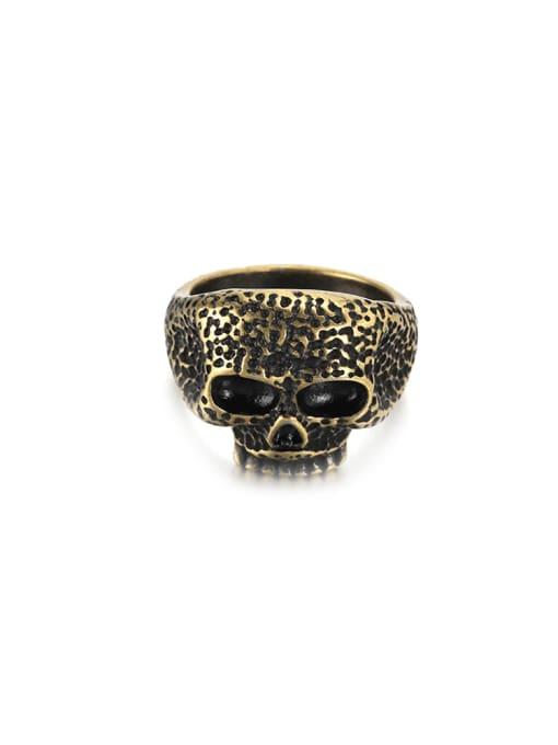 WOLF Titanium Steel Skull Vintage Band Ring 3