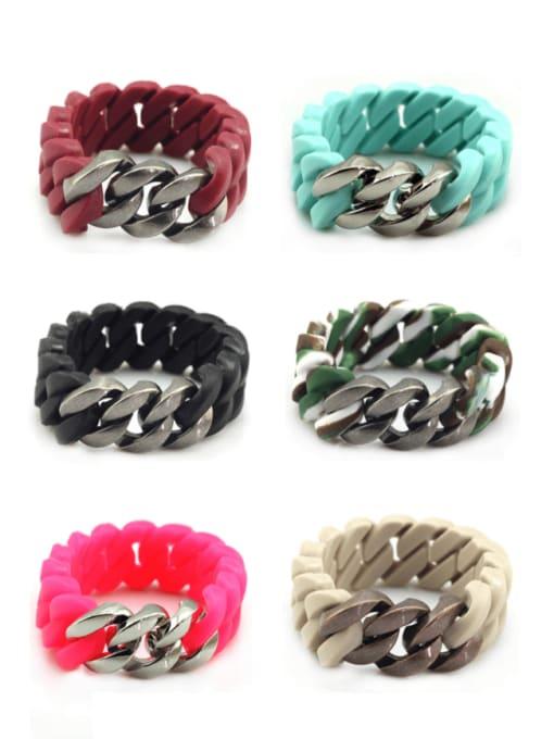 WOLF Titanium Steel Resin Geometric Hip Hop Link Bracelet 1