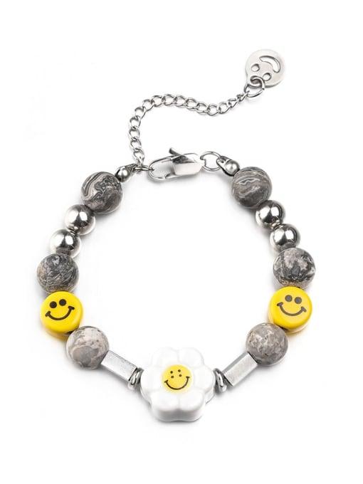Steel color Bracelet (18+5cm) Titanium Steel Hip Hop Smiley  Braclete and Necklace Set