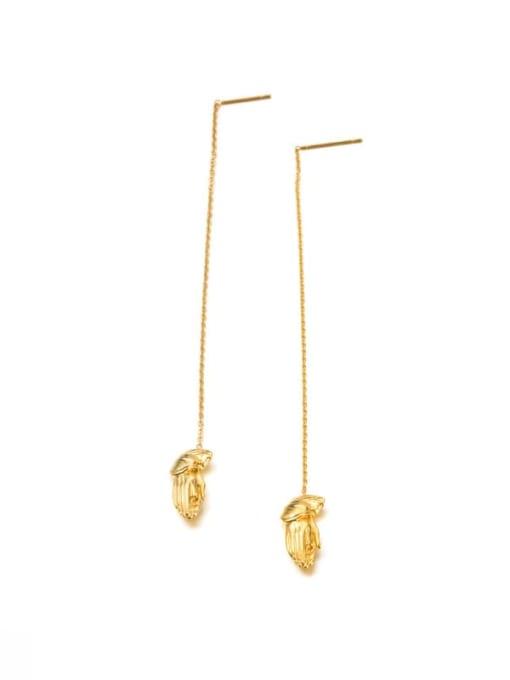 golden Titanium Steel Tassel Minimalist Threader Earring