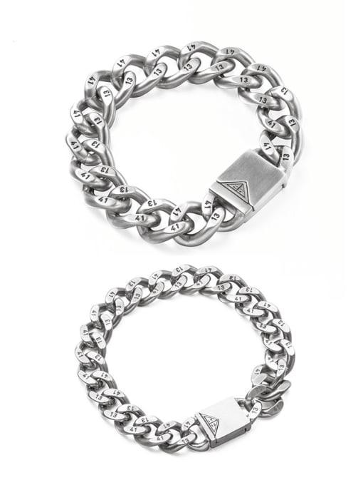 WOLF Titanium Steel Irregular Vintage Link Bracelet